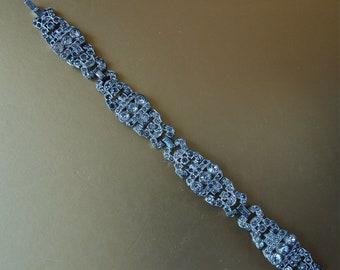 Bracelet Trifari KTF Art Deco Pot Metal Rhodium Plated and Paste Stone Signed