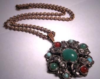 Antique Victorian Pendant and Chain Necklace MultiStone