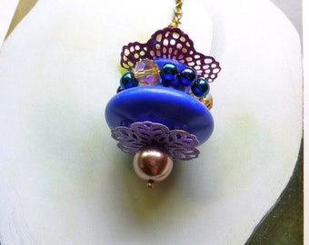 Ceiling Fan/ Light Pull, Blue Dangle, decorative light pull, handmade by gviolet