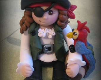 Girl Pirate, Polymer Clay Pirate with Parrot, Cake Topper, Birthday Cake Topper, Pirate Cake Topper