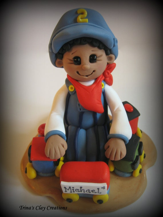 Polymer Clay Train Conductor and Train Birthday Cake Topper