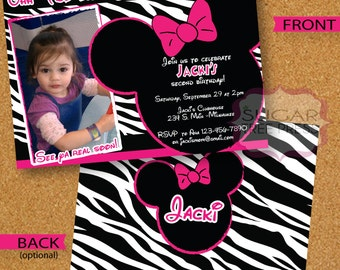 24- Minnie Mouse and Zebra Inspired Birthday Invitation
