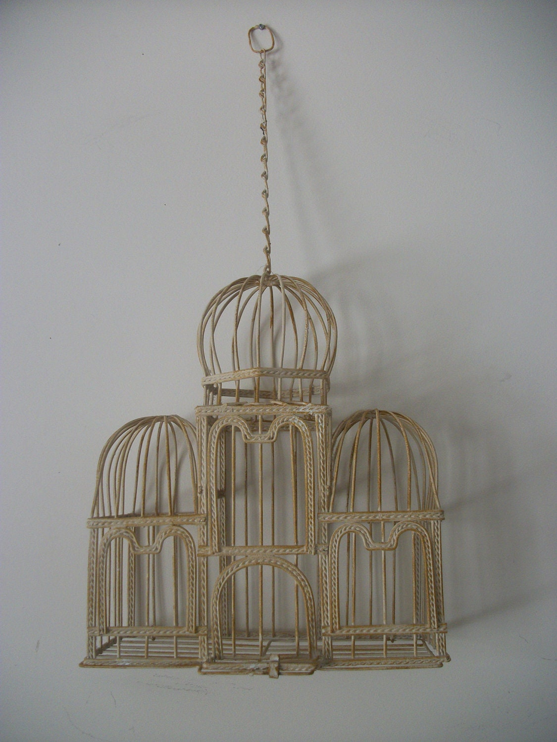 Vintage Metal Hanging Bird Cage by NoveltyandThings on Etsy