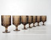 Vintage Glass Goblets -  Set of 7  Brown  Smoke Glass