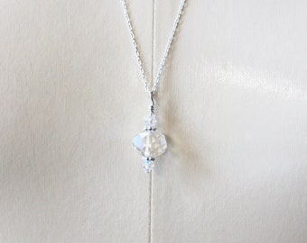 Crystal Pendulum Necklace --- prismatic opalescent Swarovski crystals and silver // 30% OFF SALE