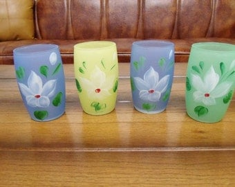 Four Vintage Hand Painted Frosted Pastel Glasses