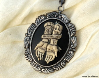 No Regrets - Tattoo hands skeleton skull cameo necklace, Victorian Gothic jewelry, dead zombie psychobilly rockabilly day of the dead bride