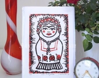 SALE Frida Kahlo Russian Doll Linoprint in Black and Red - 'Fridoyshka' Limited Edition Unmounted