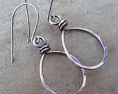 Copper Hoop Earrings Hammered Handmade Copper Jewelry Sterling Silver Ear Wires