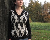 PDF Cat V Neck Knitting Pattern Instant Download