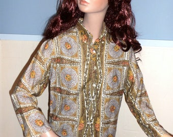 CLEARANCE 70s Cotton Batik Disco Style Blouse SMALL