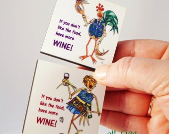 Wine Humor Magnet Set If You Don't Like the Food, Have More Wine  Helpful Host and Hostess