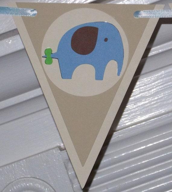 baby boy shower banner wall decor elephant blue brown cream