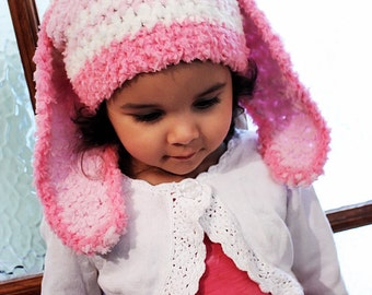 12 to 24m Girl Baby Bunny Hat Pink Stripe Hat Crochet Girl Toddler Hat in Candy Pink White Baby Pink Rabbit Baby Hat Photo Prop Costume Gift