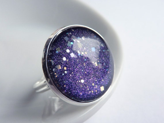 Starry Sky Ring, Night Sky Ring, Adjustable Ring