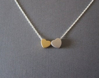 Tiny Gold & Silver Heart Necklace