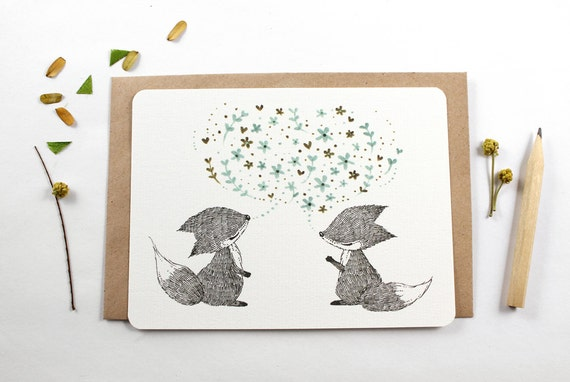 10 Notecards - Spring Chat, Fox