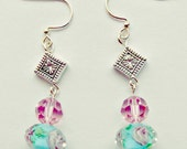 Pink and blue floral glass dangle earrings