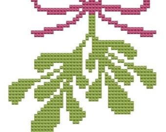 mistletoe cross stitch pattern pdf Christmas kisses Winter Holiday 2012