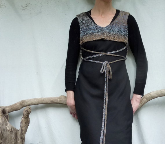Storm Wonder Bodice, handknitted in browns and blues, lacing detail, v-neck and round neck, READY TO SHIP