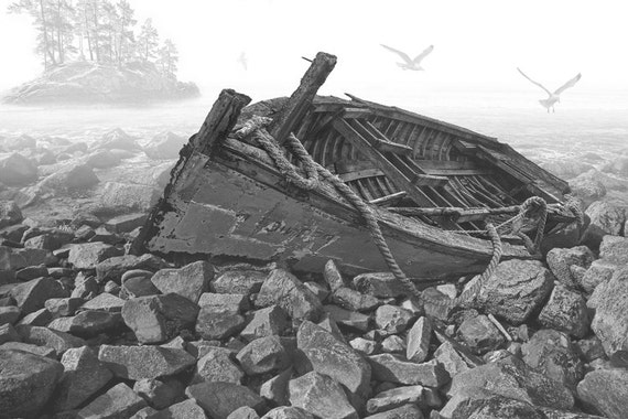 Ship Wrecked Boat run aground on a rocky beach in the fog with Flying Gulls No.120050BW A Black and White Fine Art Seascape Photograph