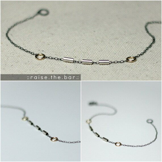 RAISE THE BAR - delicate silver gold mixed metal bar bracelet