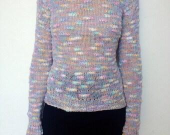 Vintage 70's /// Pastel Rainbow Cloud  Sweater
