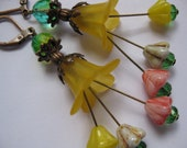 Yellow Flower Earrings with Copper and Flower Dangles- Light-weight