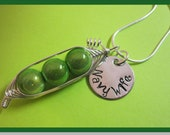 Customized Charm Listing-  Sweet Peas in a Pod Necklace (2, 3, or 4 peas- pick your color) with a hand stamped disc