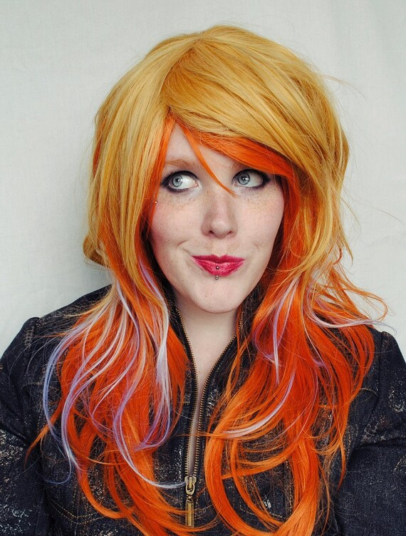 FALL HARVEST wig // Pumpkin Ginger Orange Blue Sunflower Yellow // Long Wavy Halloween Hair