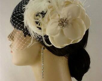 Handmade Champagne or Ivory Bridal Flower Feather Fascinator with Veil, Bridal Fascinator, Bridal Flower Hair clip, Flower, Bandeau Veil