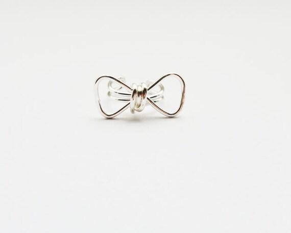 Ear Cuff Silver Bow Geometric Ear Wrap Earcuff