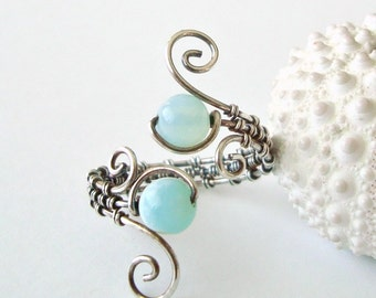 Peruvian Opal Wire Ring, Aqua Wire Wrapped Ring, Adjustable, Oxidized Sterling Silver Wire Weave Ring