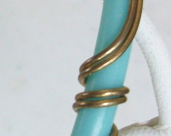 Free US Ship Turquoise Gold Wire Bracelet /