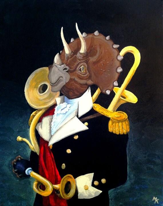 Lord Ceratops, the Three-Horned Gentleman - Original Dinosaur art