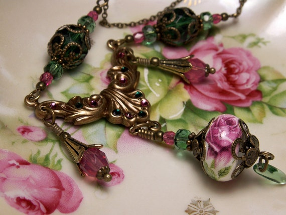 Pink Rose Drop Victorian Necklace, Forest Green Crystal Dangle Necklace, Antique Brass Filigree Titanic Temptations Edwardian Bridal Jewelry