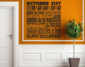 Halloween Typography wall decal - holiday decor - trick or treat sign