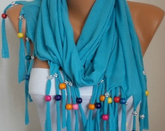 Turquoise Bead Tricot Scarf,Bridal Shawl,Wedding Scarf,Necklace,Gift Ideas For Her,Women Fashion Accessories,Women Scarves - fatwoman