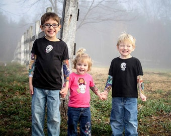 Children's tattoo sleeve shirt with tattoo applique 3m, 6m 12m, 24m, 2T, 3T, 4T
