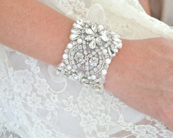 Luxury Bridal beaded cuff bracelet, crystal cuff bracelet, bridal cuff, jeweled bracelet, bridesmaid bracelet, bridesmaid gift- KATERINA