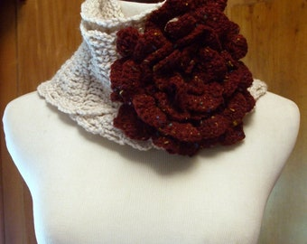 Hand Crochet Cream Scarf and Large Exotic Crochet Flower Broach in Burgandy Wine, Crochet Scarf, Cowl, Flower Pin