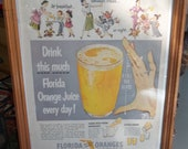Florida Orange Juice Advertisements, Framed, Vintage Home Decor, Kitchen Decor, Morning Beverage