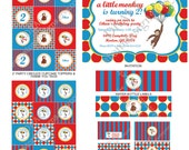 DIY -  Printable: Curious George Party Set- Blue Red Yellow -  14 items (invitation, party circles, water bottle labels, banner and more)