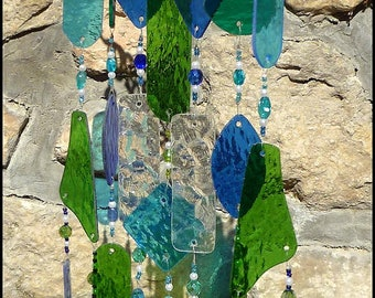 Stained Glass Wind Chime in Aqua, Blue & Green - Windchime Suncatcher -Garden Art -   Handcrafted Sun Catcher 203-AQ