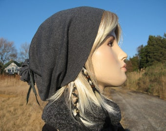 Cashmere Beanie Hat Women's Our Basic Cashmere Slouch Tam Charcoal Gray with Black Leather Tie Back A792