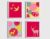 Nursery Girls Kids Wall Art Girl Woodland Forest Birds Deer Animals Flowers set of 4 each 11x14