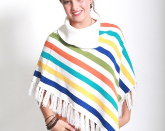 Vintage eighties orange blue white yellow green striped fringed poncho / shawl