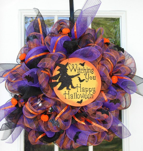 Witching You A Happy Halloween Witch Wreath Halloween Poly