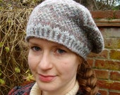 Handknit Fair Isle Geometric Tam o' Shanter (in subtle duck egg blue and grey yarn)