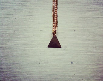 tiny mystic  triangle -necklace (gold plated triangle charm and gold plated chain minimal discreet neckpiece)